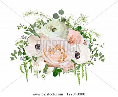 Flower Bouquet vector design object element. Peach pink garden Rose Eucalyptus ranunculus white Anemone Poppy flowers berry herb mix Lovely floral elegant wedding card. All elements isolated editable