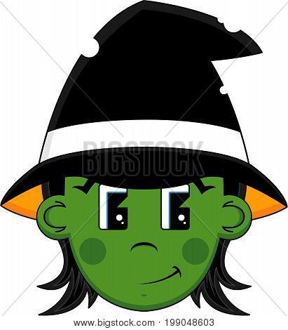 Cute Cartoon Spooky Halloween Witch Vector Illustration