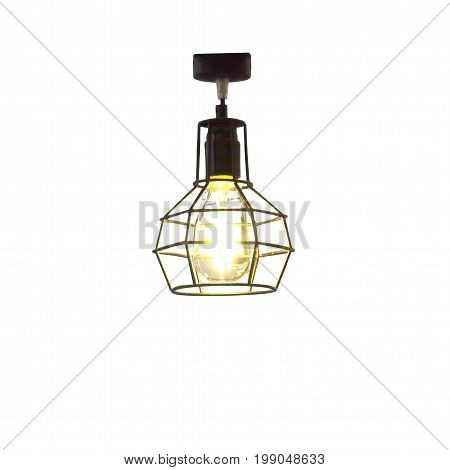 Electric lamp with light bulb isolated on whte background; This has clipping path.