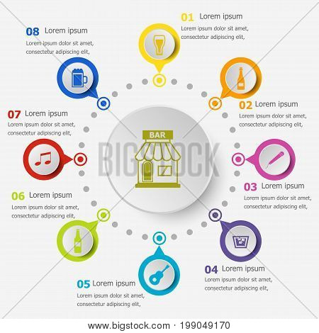 Infographic template with bar icons, stock vector