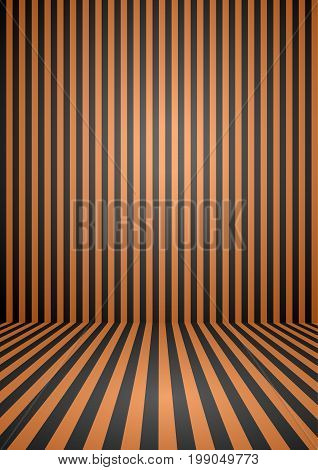 Abstract orange and black color vintage striped room background for halloween theme concept. Vector illustration