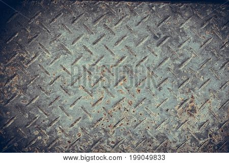 Old Seamless Steel Diamond Plate Texture, Black And White Rusty Texture.