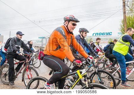 People Before Open Bike Race In The Street Of Kirov City In 2017