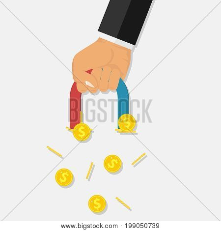 A hand with a magnet attracts gold coins. A businessman holds a magnet in his hand. Flat design vector illustration vector.