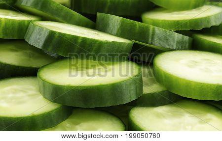 Fresh cucumber slices background, tasty, natura l