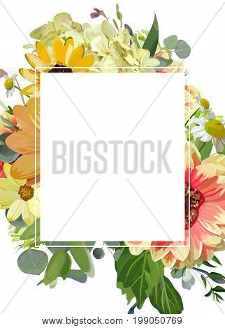 Vector design vertical card Rectangular copy space. Yellow sunflower hydrangea cosmos flowers dahlia daisy eucalyptus green leaves floral frame. Elegant summer autumn blank paper invitation wedding