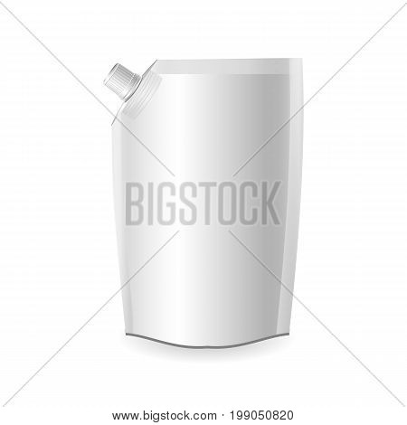 Plastic pouch with batcher. Isolated on a white. Vector