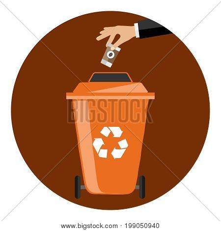 The hand throws the garbage into the container. The hand throws the plastic into a special garbage can. Flat design vector illustration vector.