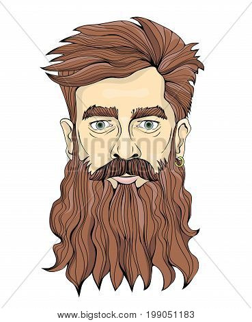 A man with a long beard and earring. Vector portrait illustration, isolated on white background.