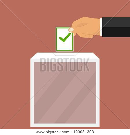 The hand drops the ballot into the ballot box. A hand holds a newsletter. Flat design vector illustration vector.