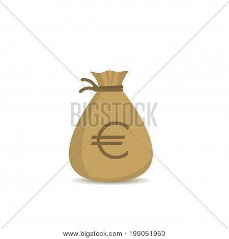Money bag with euro sign. Treasure, jackpot symbol
