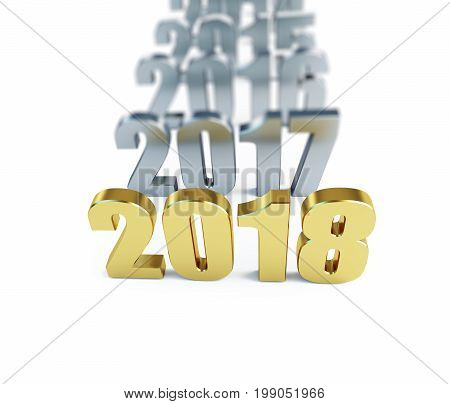 New Year 2018. 3d Illustrations on a white background
