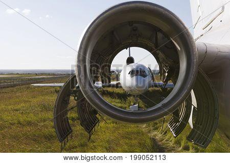 Dump of aircraft - vintage Soviet civil passenger airplane, engine