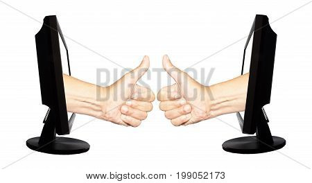 Virtual number one with two hands in displays on the white background - internet business concept - teamwork success