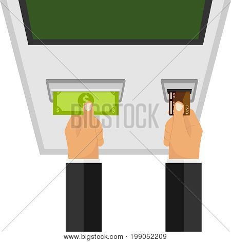 The hands near the ATM withdraw money from the card. Flat design vector illustration vector.