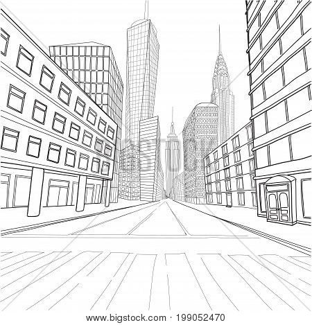 London New York buildings Empire State Chrysler Building World Trade Center city landscape cityscape street.Vector close-up beautiful black line outline drawing illustration isolated white background