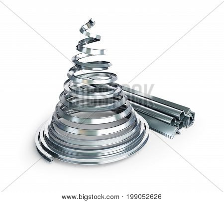 Metal fir tree on a white background 3D illustration