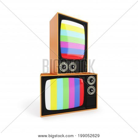 Old TV with No Signal TV Classic Vintage Retro Style old television screen.old television on a white background 3D illustration