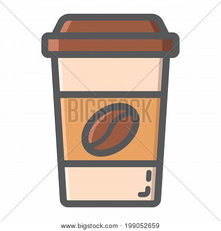 Coffee filled outline icon, food and drink, cappuccino sign vector graphics, a colorful line pattern on a white background, eps 10.