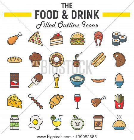 Food and drink filled outline icon set, meal symbols collection, vector sketches, logo illustrations, signs colorful line pictograms package isolated on white background, eps 10.