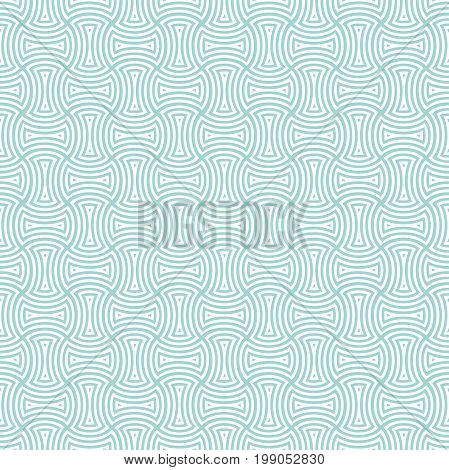 Seamless surface pattern design with ethnic ornament. Blue axehead figures background
