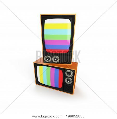 two tv retro on a white background 3D illustration