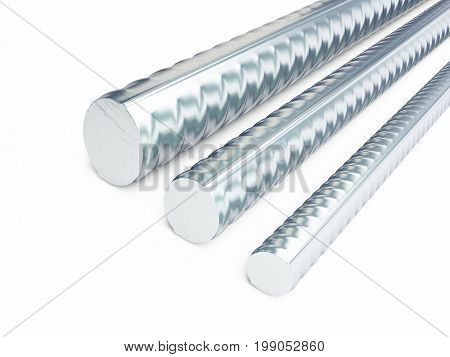 reinforcing steel. 3d Illustrations on a white background 3D rendering poster