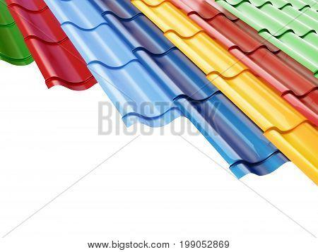 Metal color tile on a white background 3D illustration 3D rendering