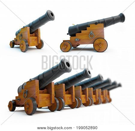 Old cannons set on a white background
