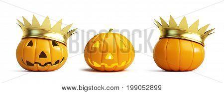 halloween pumpkin crown on a white background 3D illustration 3D rendering