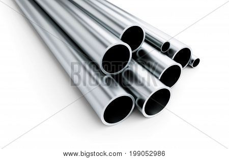 metal pipe on white background. on a white background 3D illustration 3D rendering