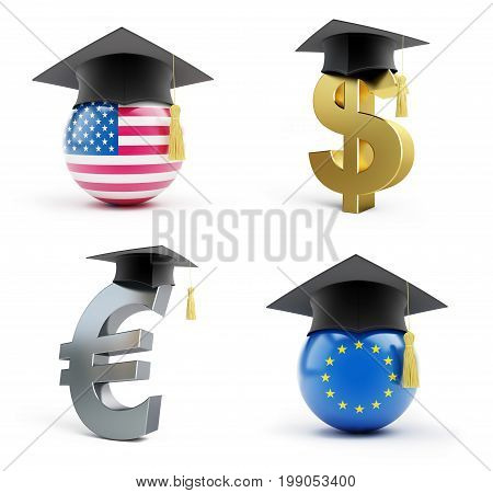 Education in the European Union and in the USA on a white background 3D illustration 3D rendering