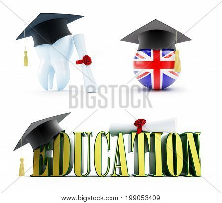 Education of a dentist in England set on a white background 3D illustration 3D rendering
