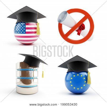 Education set on a white background 3D illustration 3D rendering