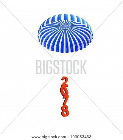 parachute 2018 new year on a white background 3D illustration 3D rendering