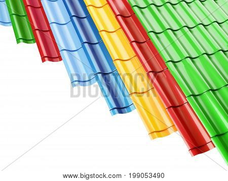 Color Metal Roof Tileson a white background 3D illustration 3D rendering