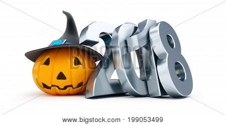 Holiday halloween in 2018 n a white background 3D illustration 3D rendering