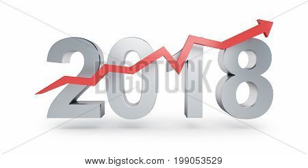 Arrow up for 2018 on a white background 3D illustration 3D rendering