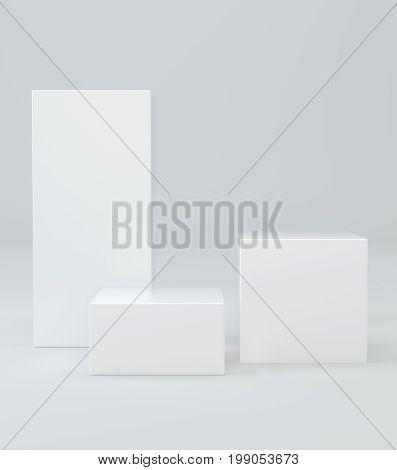 Pedestal cube for presentation. 3d rendering for presentation