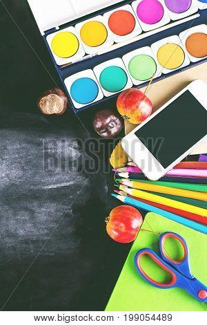 Chalk on black chalkboard