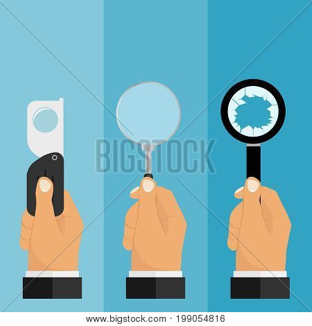 A hand holds a magnifying glass a magnifying glass icon. Flat design vector illustration vector.