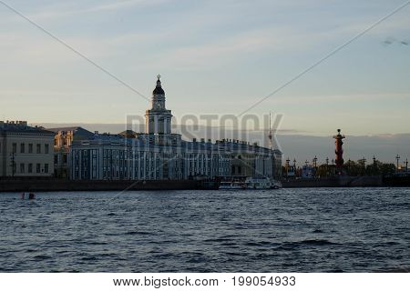 View of Saint Petersburg at the sunset time beside the Neva River. This area have the historical building and the classic style . St Petersburg Russian Federation