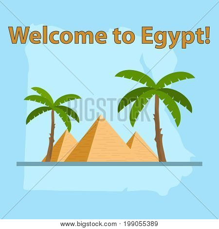 Egypt map of Egypt Egyptian pyramids. Flat design vector illustration vector.