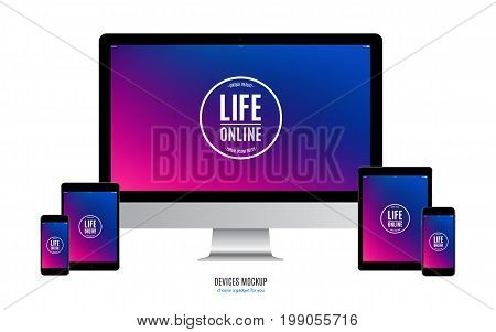mockup devices: smartphone tablet and computer monitor with multicolor screen isolated on white background. stock vector illustration eps10