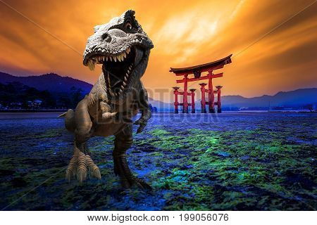 Dinosaurs model with the background of Tori Gate in Hiroshima, Japan