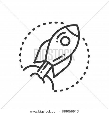 Project Execution - modern vector single line design icon. A black and white image depicting development process, a rocket flying to space. Metaphor of fast movement for presentation, promotion.