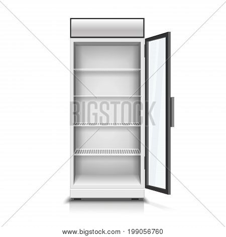 Modern vertical refrigerator with open transparent front panel. realistic isolated 3D Illustration
