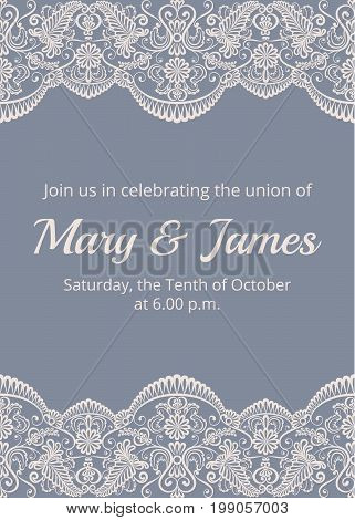 Wedding invitation template with beige lace border on gray background