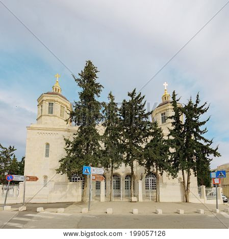 Entrance to Trinity Cathedral of a Russian Ecclesiastical Mission in Jerusalem