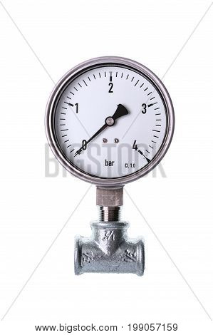 White analog manometer isolated on white background